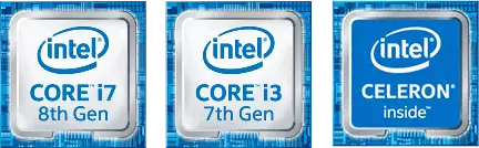 intel CORE i7 8th Gen, intel CORE i3 7th Gen, intel CELERON